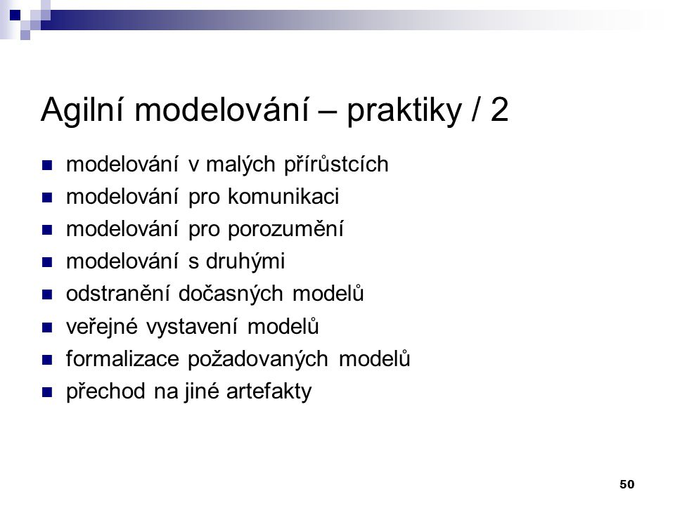 Agilní modelování – praktiky / 2