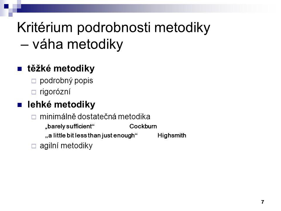 Kritérium podrobnosti metodiky – váha metodiky
