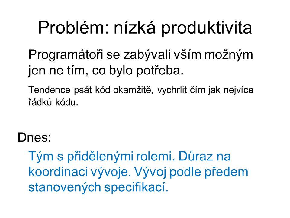 Problém: nízká produktivita