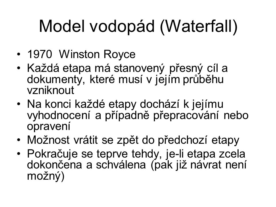 Model vodopád (Waterfall)