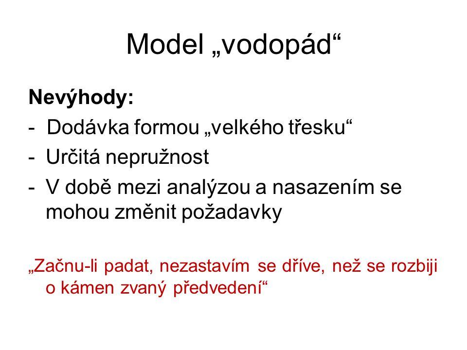 """Model """"vodopád Nevýhody: - Dodávka formou """"velkého třesku"""