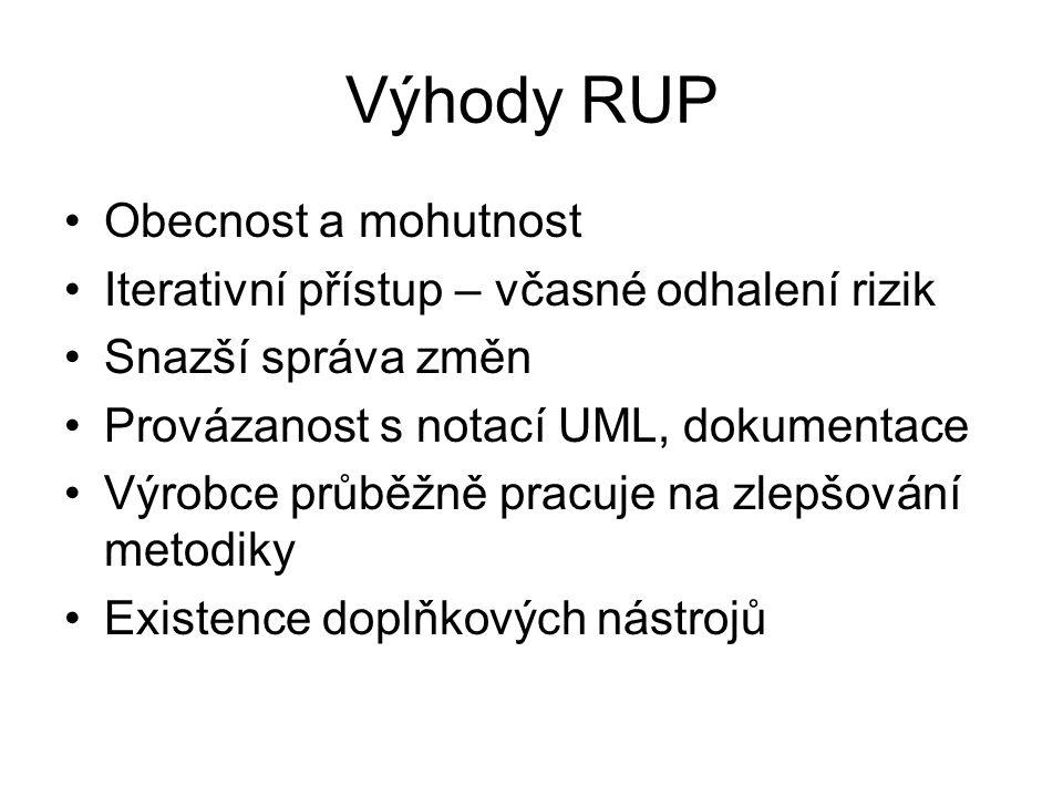 Výhody RUP Obecnost a mohutnost