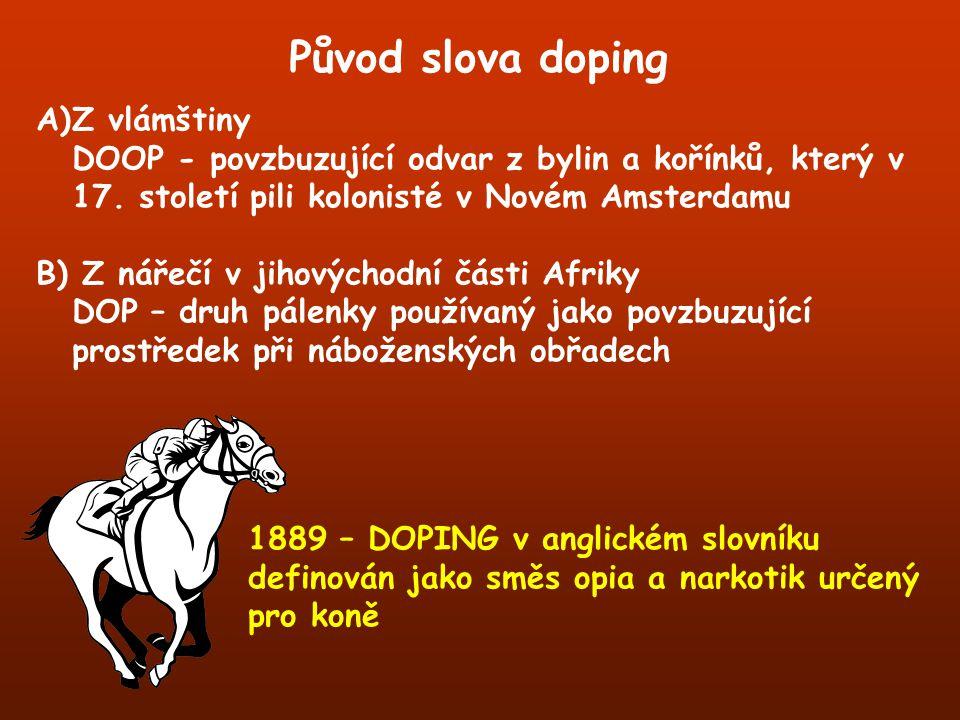 Původ slova doping Z vlámštiny