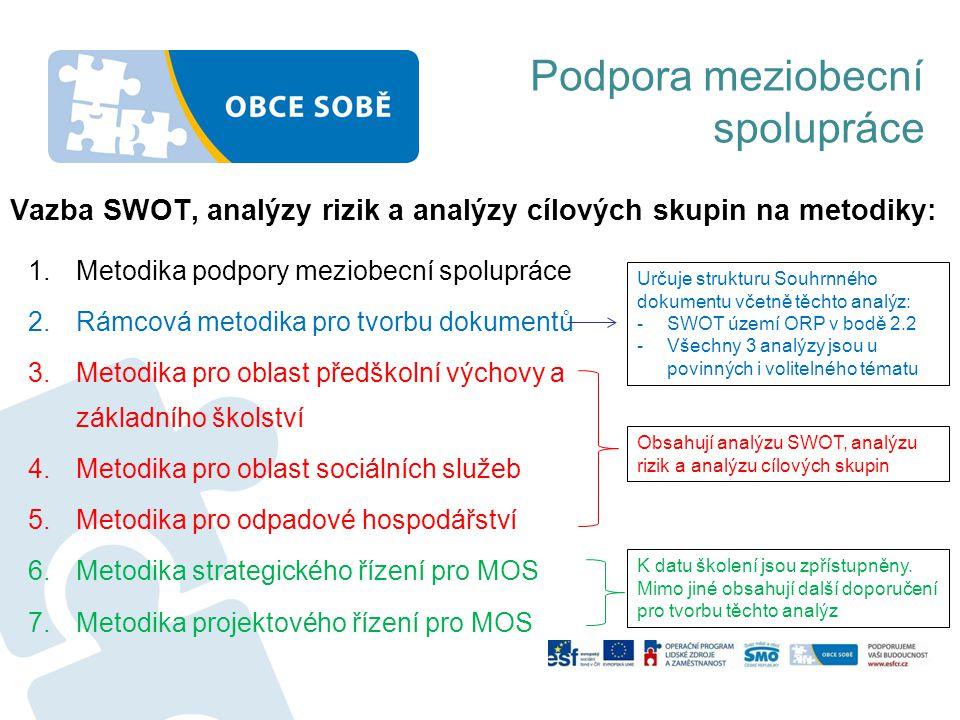 Vazba SWOT, analýzy rizik a analýzy cílových skupin na metodiky: