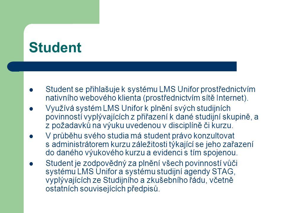 Student Student se přihlašuje k systému LMS Unifor prostřednictvím nativního webového klienta (prostřednictvím sítě Internet).