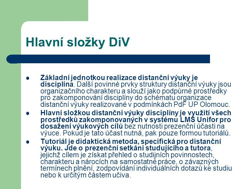Hlavní složky DiV