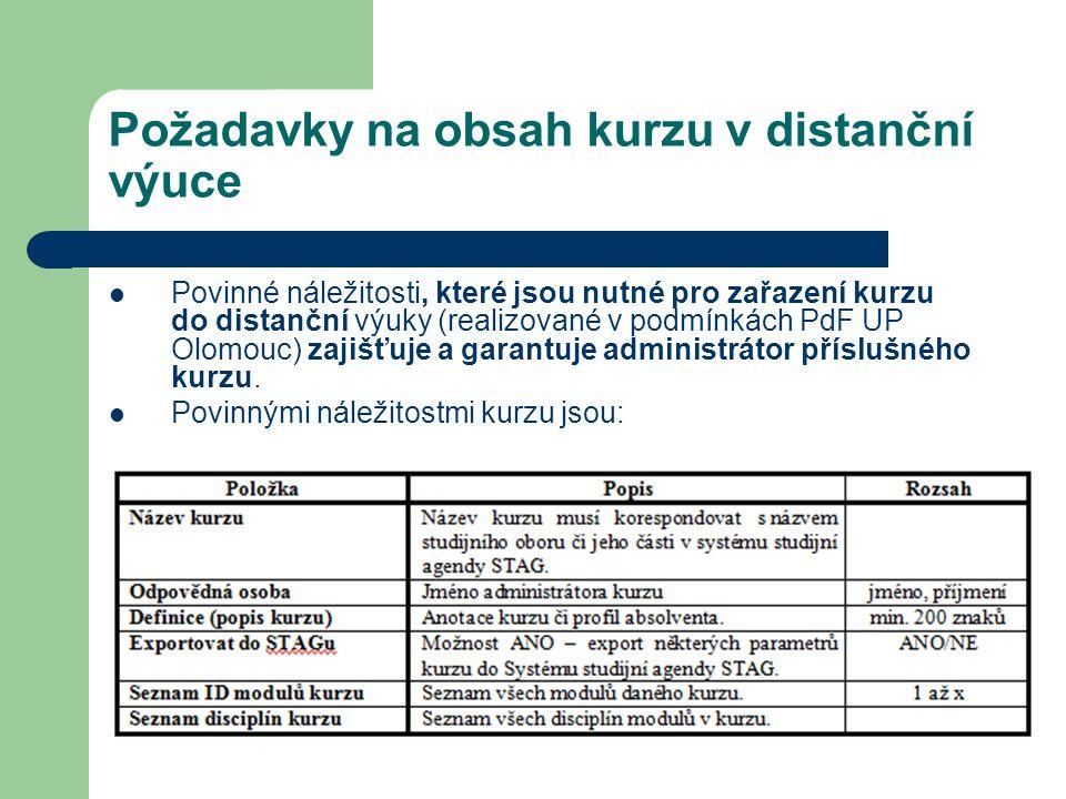 Požadavky na obsah kurzu v distanční výuce