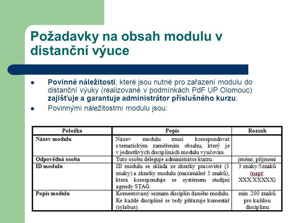 Požadavky na obsah modulu v distanční výuce