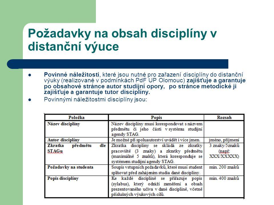 Požadavky na obsah disciplíny v distanční výuce