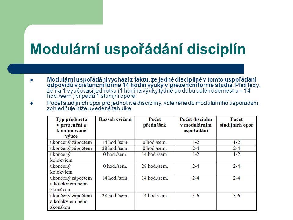 Modulární uspořádání disciplín