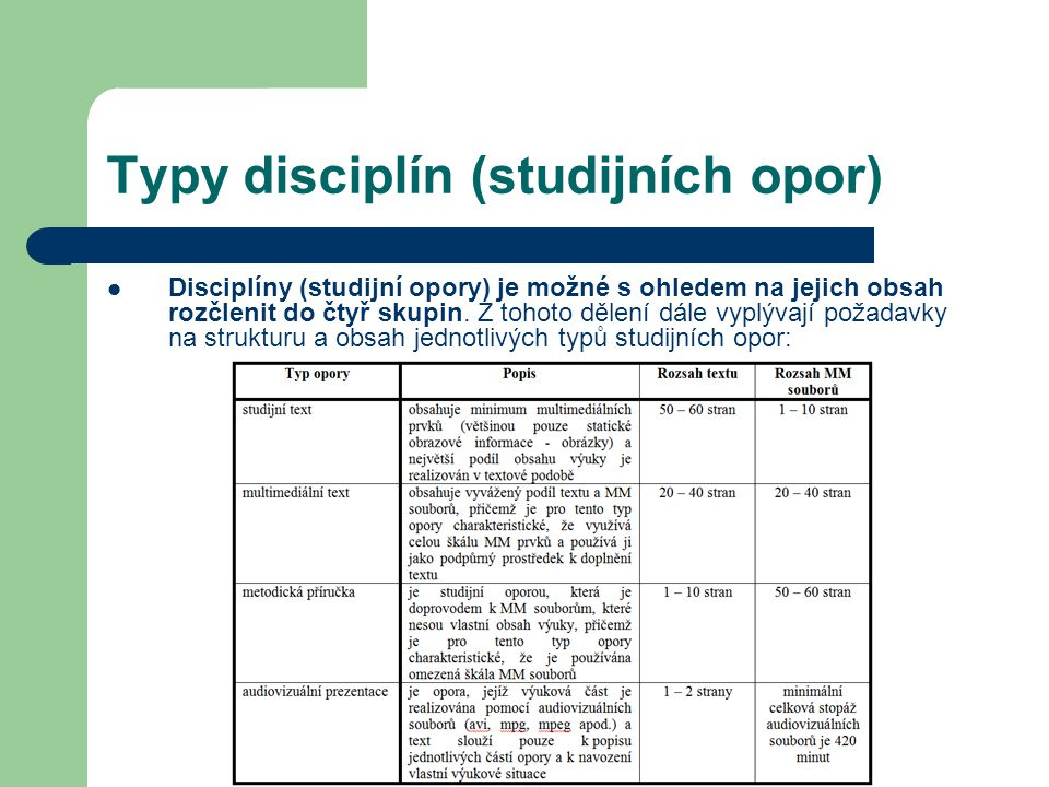 Typy disciplín (studijních opor)