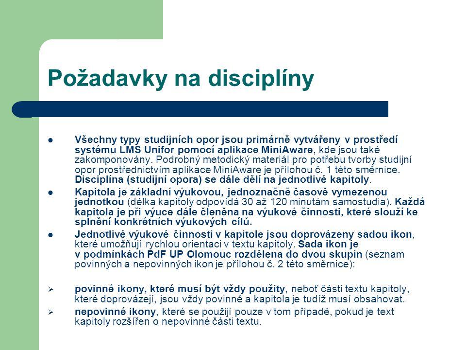 Požadavky na disciplíny