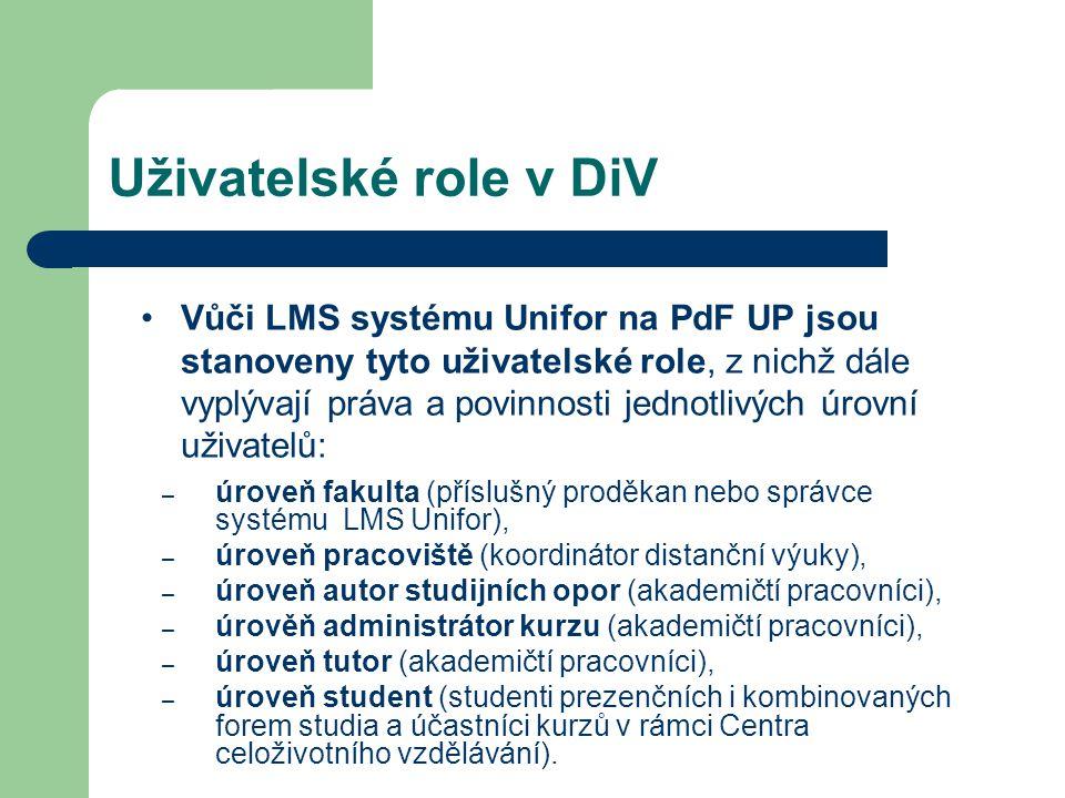 Uživatelské role v DiV