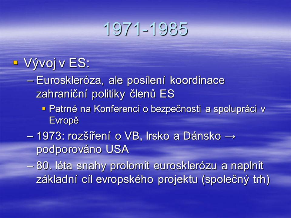 1971-1985 Vývoj v ES: Euroskleróza, ale posílení koordinace zahraniční politiky členů ES. Patrné na Konferenci o bezpečnosti a spolupráci v Evropě.