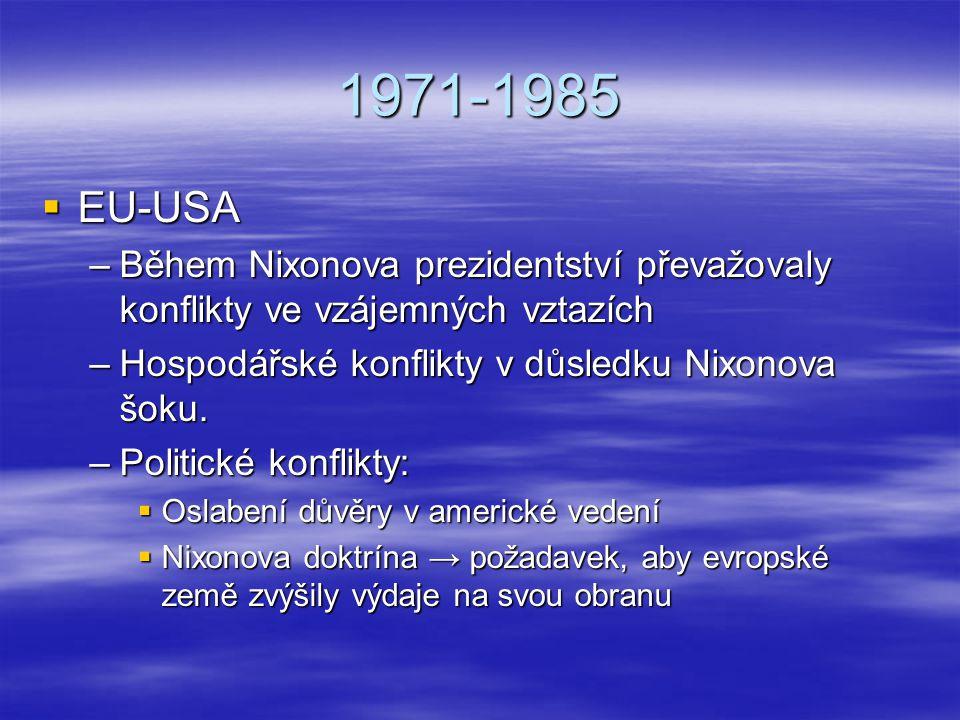 1971-1985 EU-USA. Během Nixonova prezidentství převažovaly konflikty ve vzájemných vztazích. Hospodářské konflikty v důsledku Nixonova šoku.