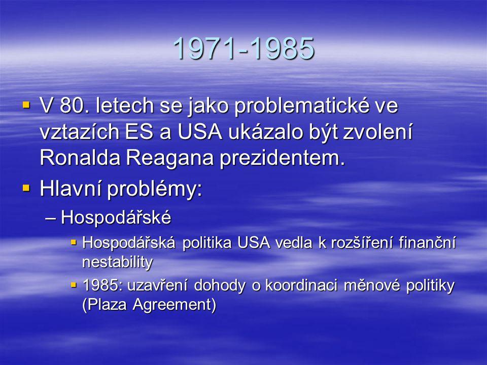 1971-1985 V 80. letech se jako problematické ve vztazích ES a USA ukázalo být zvolení Ronalda Reagana prezidentem.