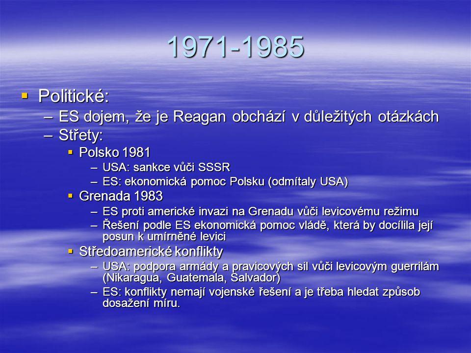 1971-1985 Politické: ES dojem, že je Reagan obchází v důležitých otázkách. Střety: Polsko 1981. USA: sankce vůči SSSR.