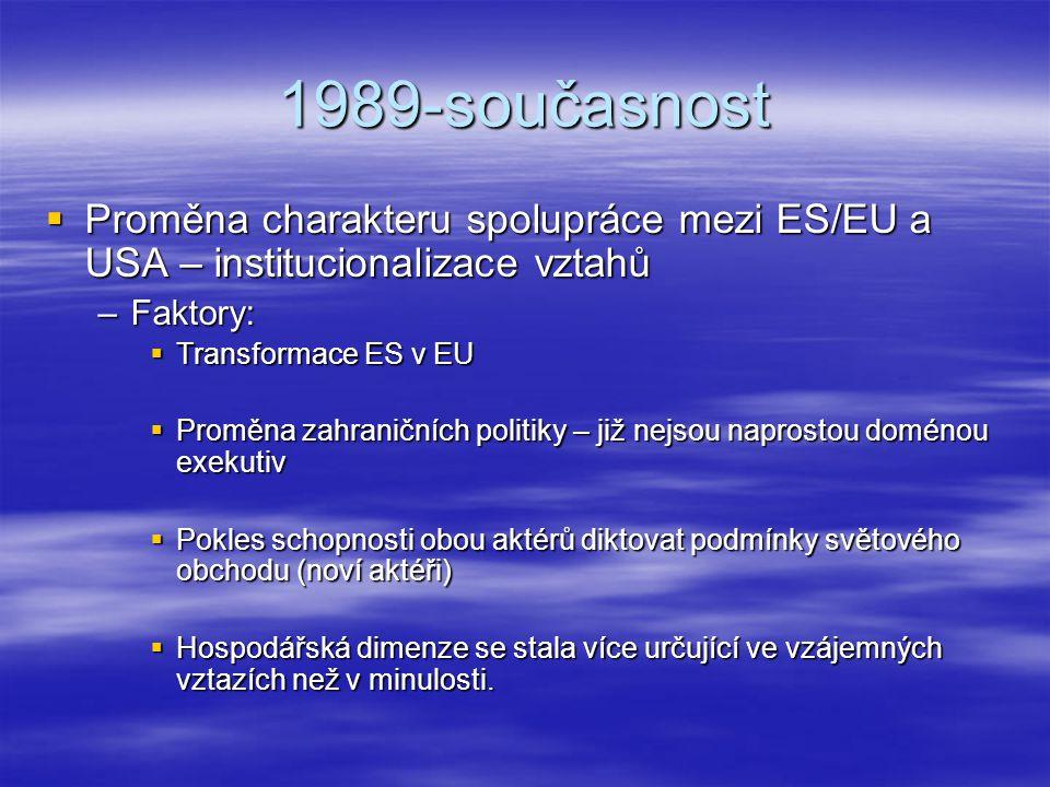 1989-současnost Proměna charakteru spolupráce mezi ES/EU a USA – institucionalizace vztahů. Faktory: