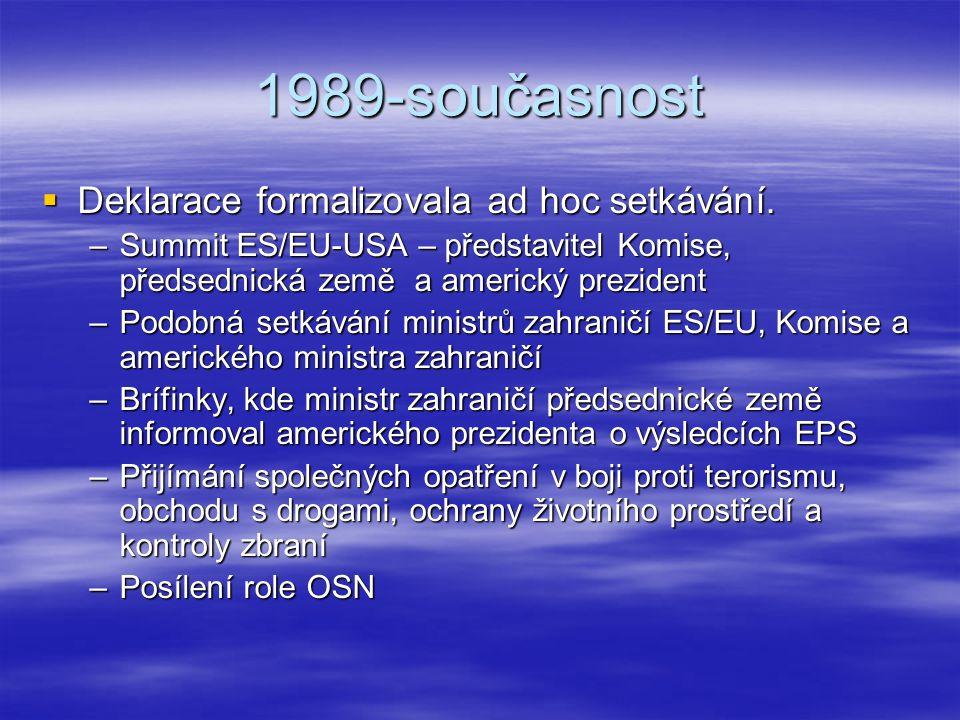 1989-současnost Deklarace formalizovala ad hoc setkávání.