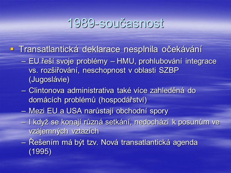 1989-současnost Transatlantická deklarace nesplnila očekávání