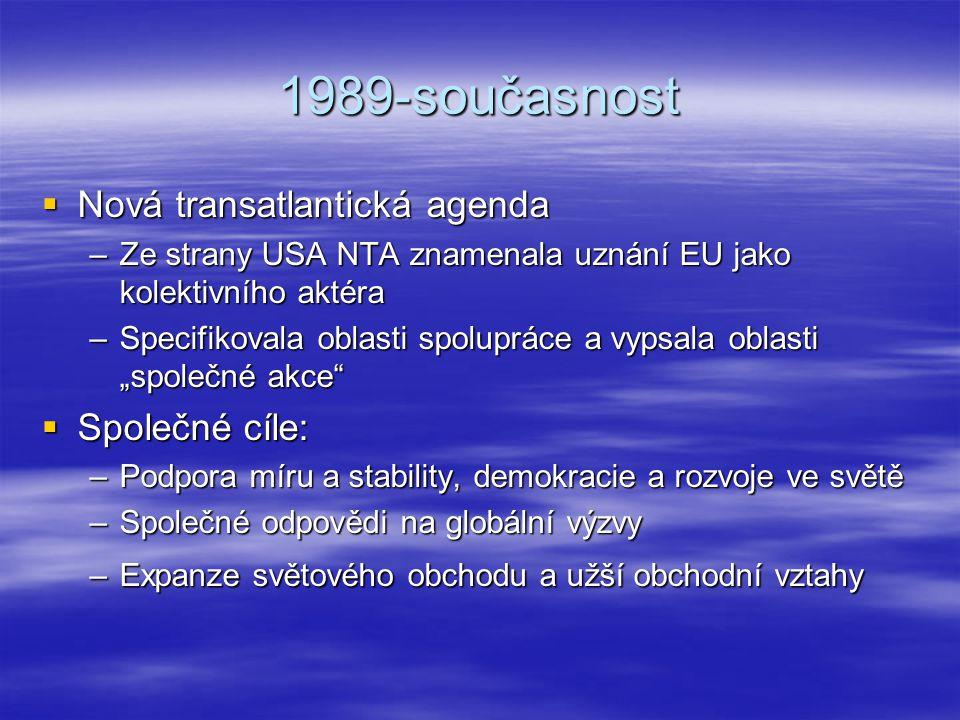 1989-současnost Nová transatlantická agenda Společné cíle: