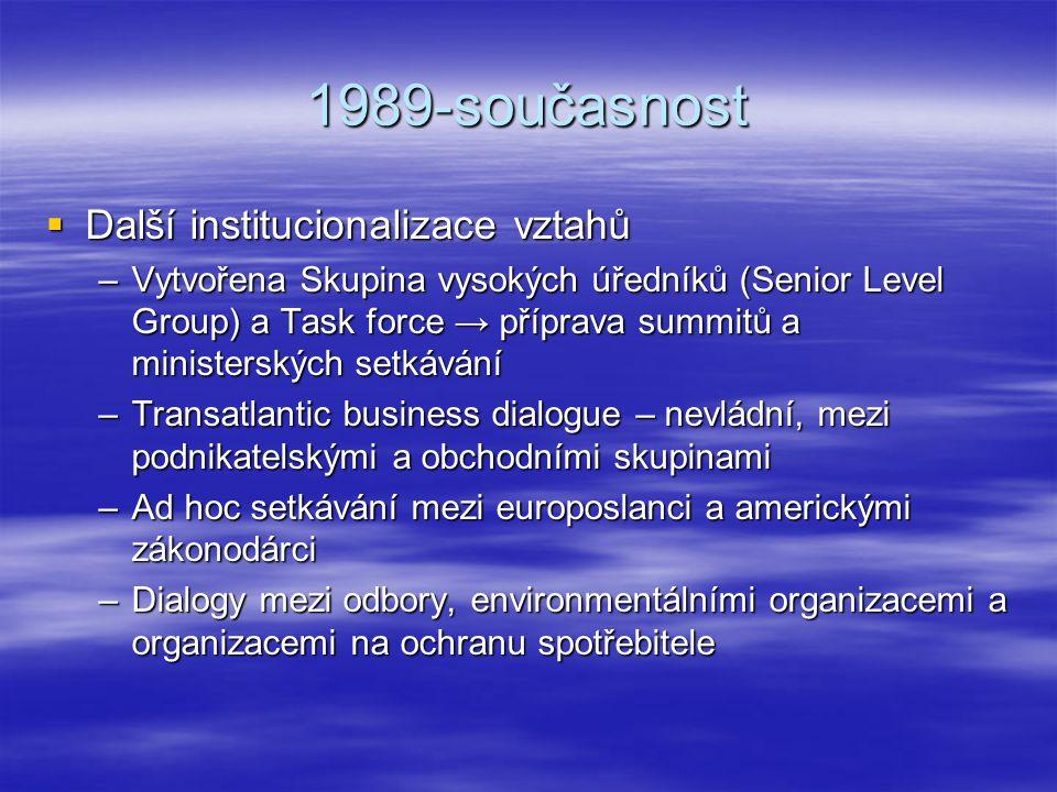 1989-současnost Další institucionalizace vztahů