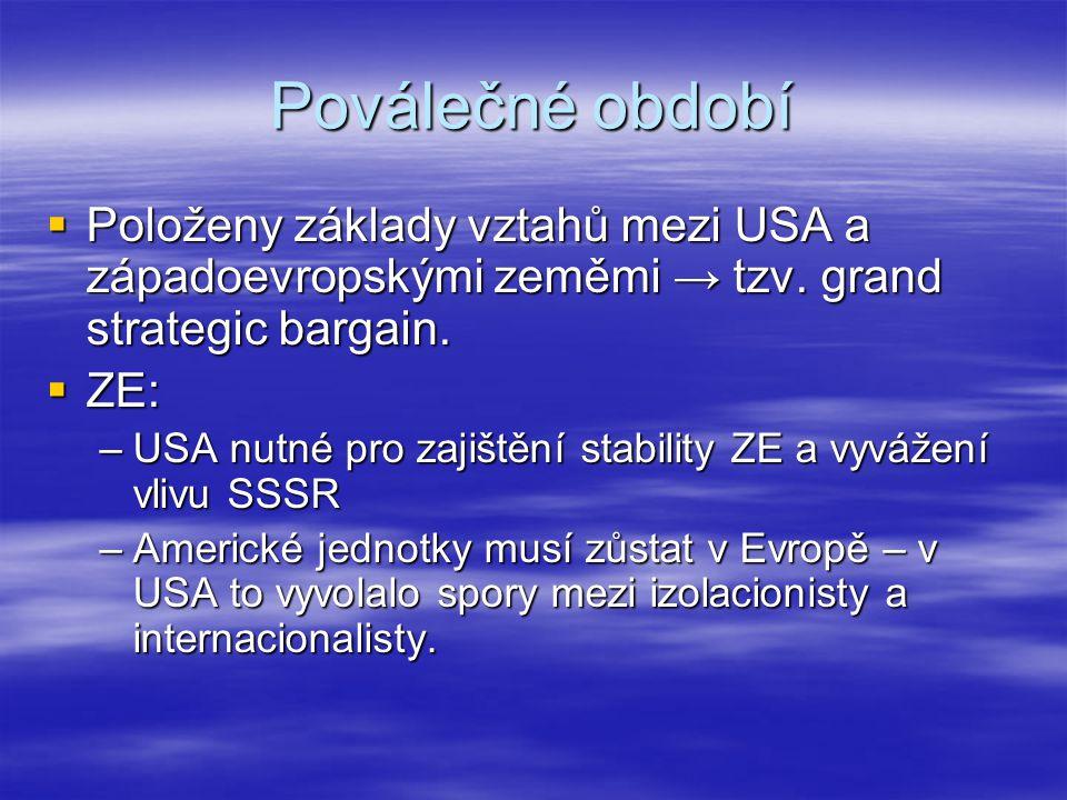 Poválečné období Položeny základy vztahů mezi USA a západoevropskými zeměmi → tzv. grand strategic bargain.