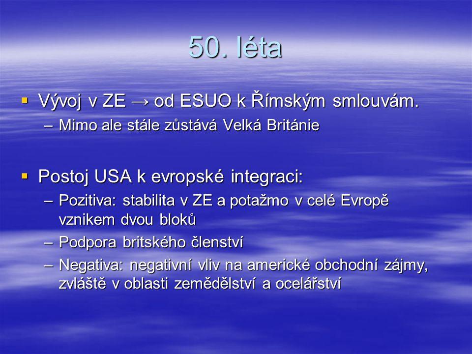 50. léta Vývoj v ZE → od ESUO k Římským smlouvám.