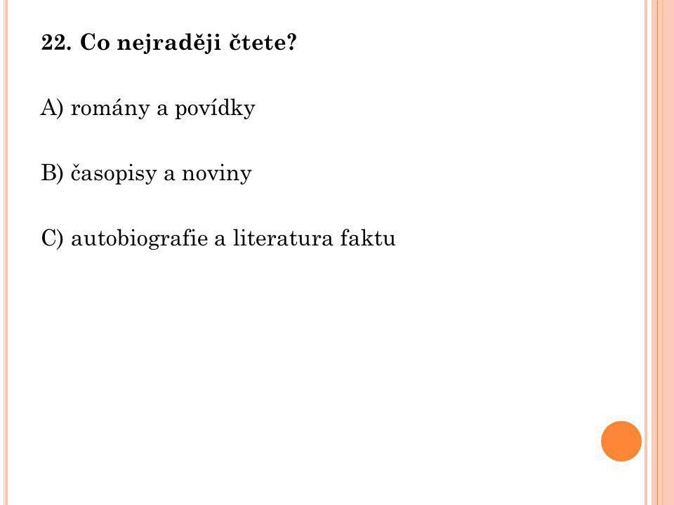 22. Co nejraději čtete. A) romány a povídky. B) časopisy a noviny.