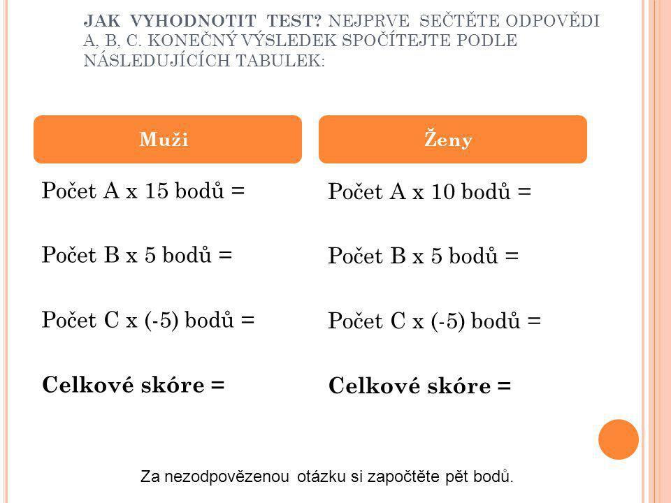 JAK VYHODNOTIT TEST. NEJPRVE SEČTĚTE ODPOVĚDI A, B, C