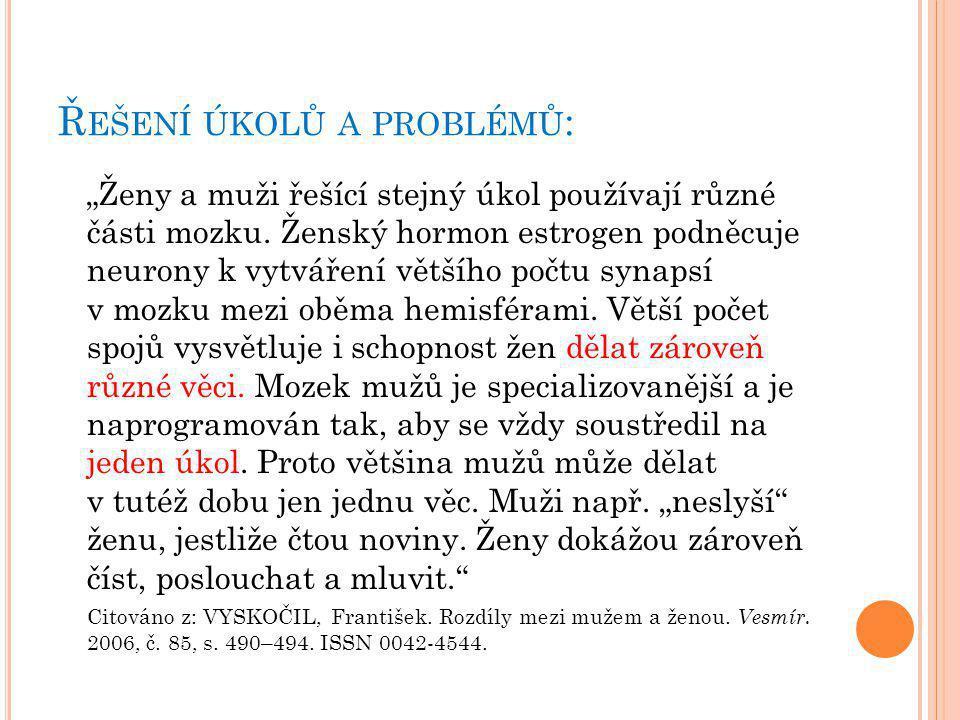 Řešení úkolů a problémů: