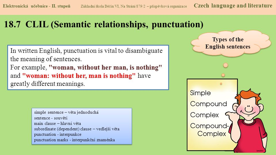 18.7 CLIL (Semantic relationships, punctuation)