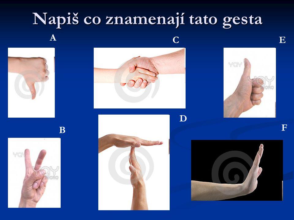 Napiš co znamenají tato gesta