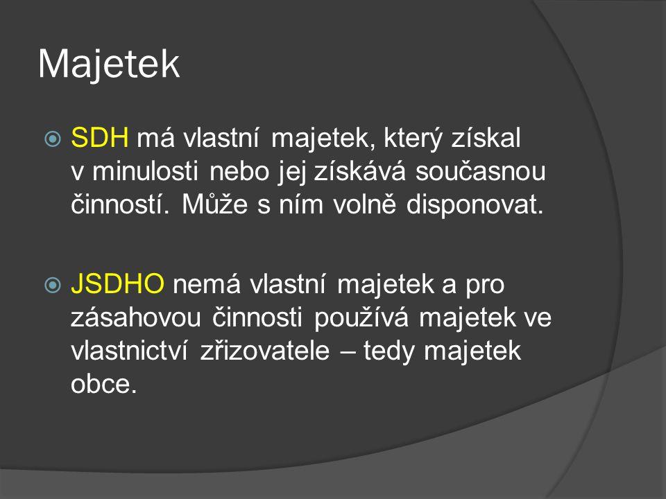 Majetek SDH má vlastní majetek, který získal v minulosti nebo jej získává současnou činností. Může s ním volně disponovat.