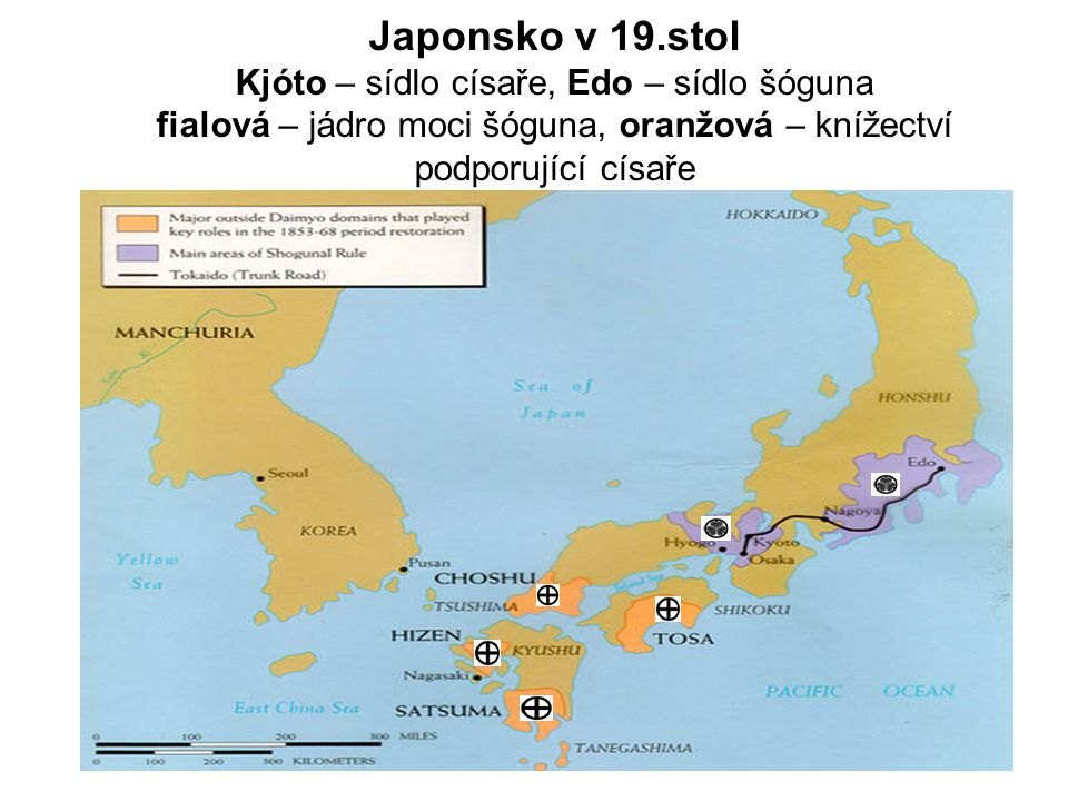 Japonsko v 19.stol Kjóto – sídlo císaře, Edo – sídlo šóguna fialová – jádro moci šóguna, oranžová – knížectví podporující císaře