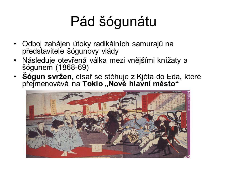 Pád šógunátu Odboj zahájen útoky radikálních samurajů na představitele šógunovy vlády.