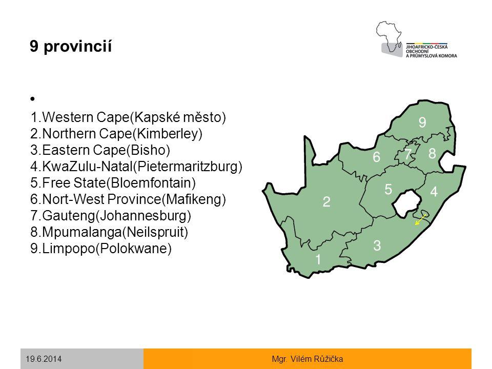 9 provincií 1.Western Cape(Kapské město) 2.Northern Cape(Kimberley)