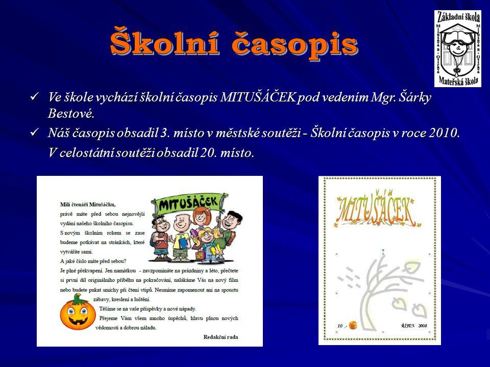 Školní časopis Ve škole vychází školní časopis MITUŠÁČEK pod vedením Mgr. Šárky Bestové.