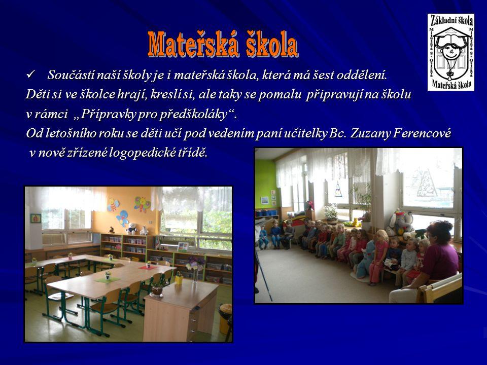 Mateřská škola Součástí naší školy je i mateřská škola, která má šest oddělení.
