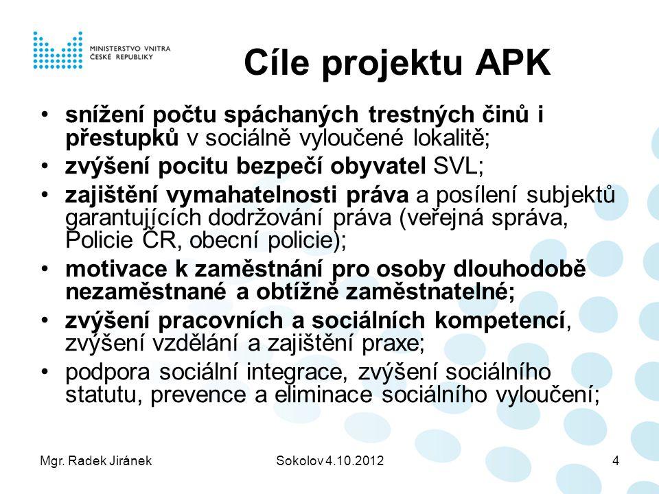 Cíle projektu APK snížení počtu spáchaných trestných činů i přestupků v sociálně vyloučené lokalitě;