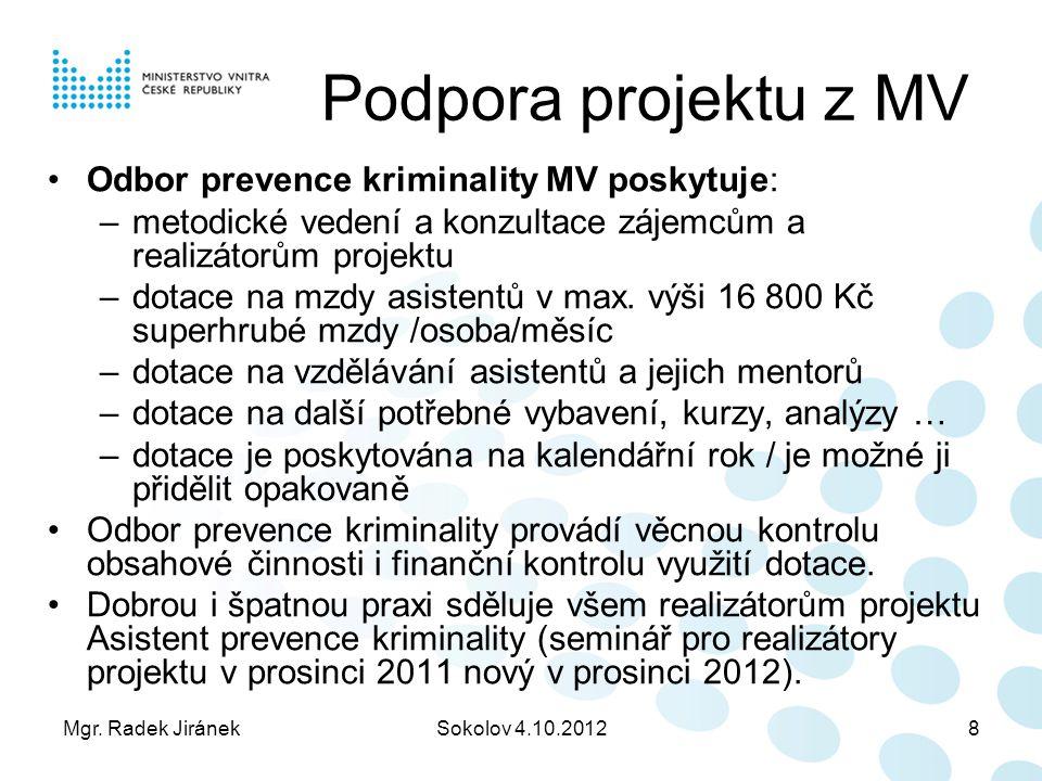 Podpora projektu z MV Odbor prevence kriminality MV poskytuje: