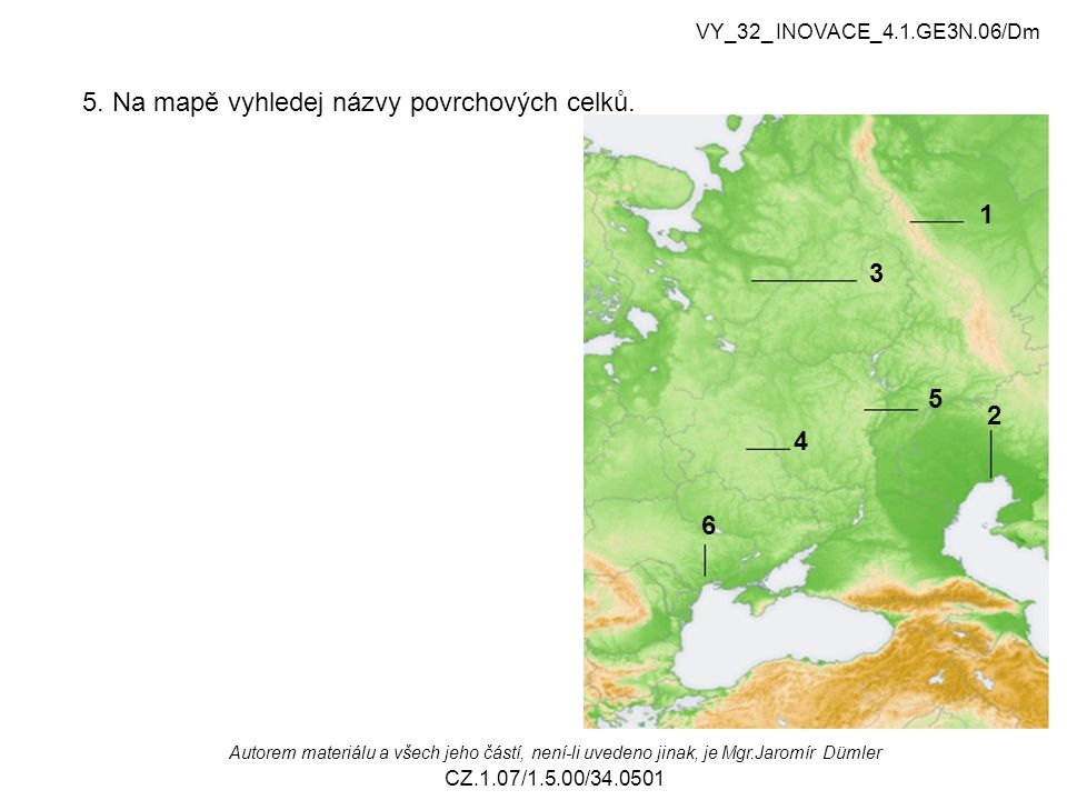 5. Na mapě vyhledej názvy povrchových celků.