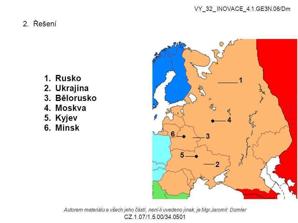 Rusko Ukrajina Bělorusko Moskva Kyjev Minsk 2. Řešení 1 4 6 3 5 2