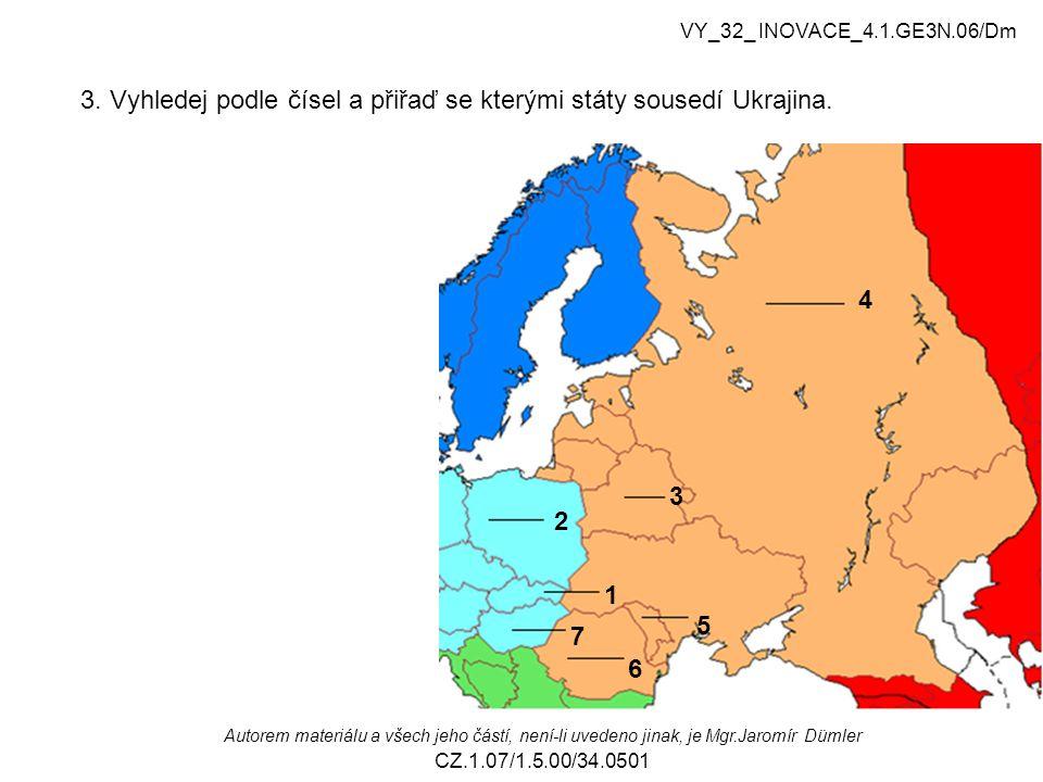 3. Vyhledej podle čísel a přiřaď se kterými státy sousedí Ukrajina.