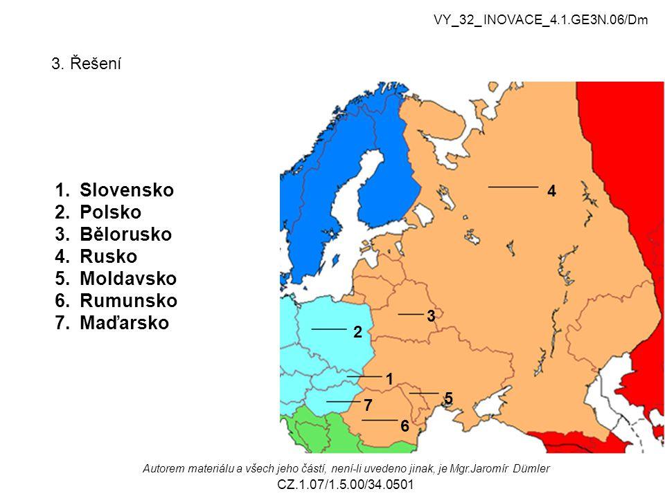 Slovensko Polsko Bělorusko Rusko Moldavsko Rumunsko Maďarsko 3. Řešení