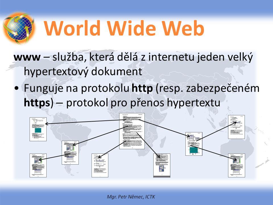 World Wide Web www – služba, která dělá z internetu jeden velký hypertextový dokument.
