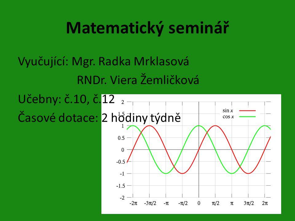 Matematický seminář Vyučující: Mgr. Radka Mrklasová RNDr.