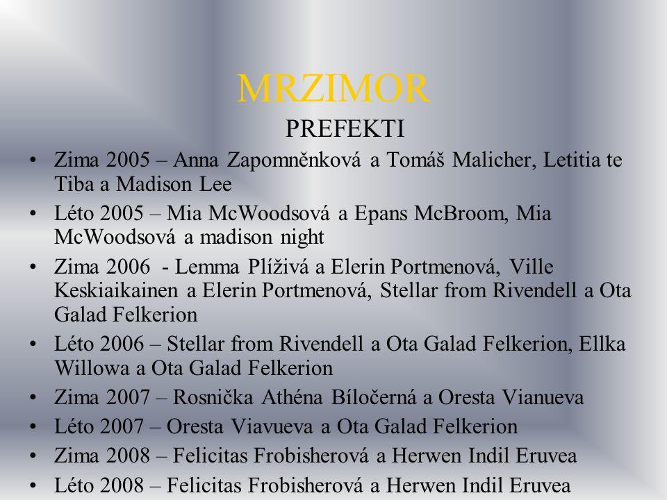 MRZIMOR PREFEKTI. Zima 2005 – Anna Zapomněnková a Tomáš Malicher, Letitia te Tiba a Madison Lee.
