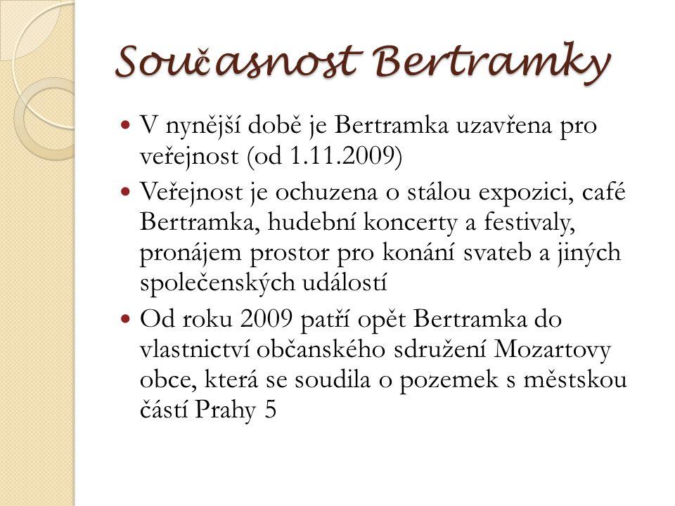 Současnost Bertramky V nynější době je Bertramka uzavřena pro veřejnost (od 1.11.2009)