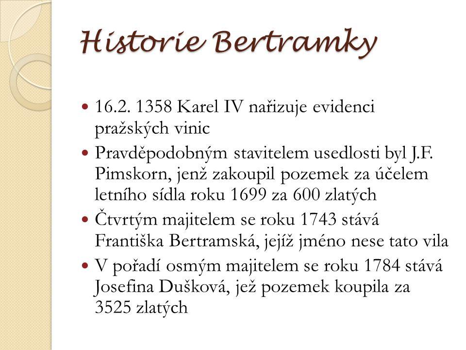 Historie Bertramky 16.2. 1358 Karel IV nařizuje evidenci pražských vinic.